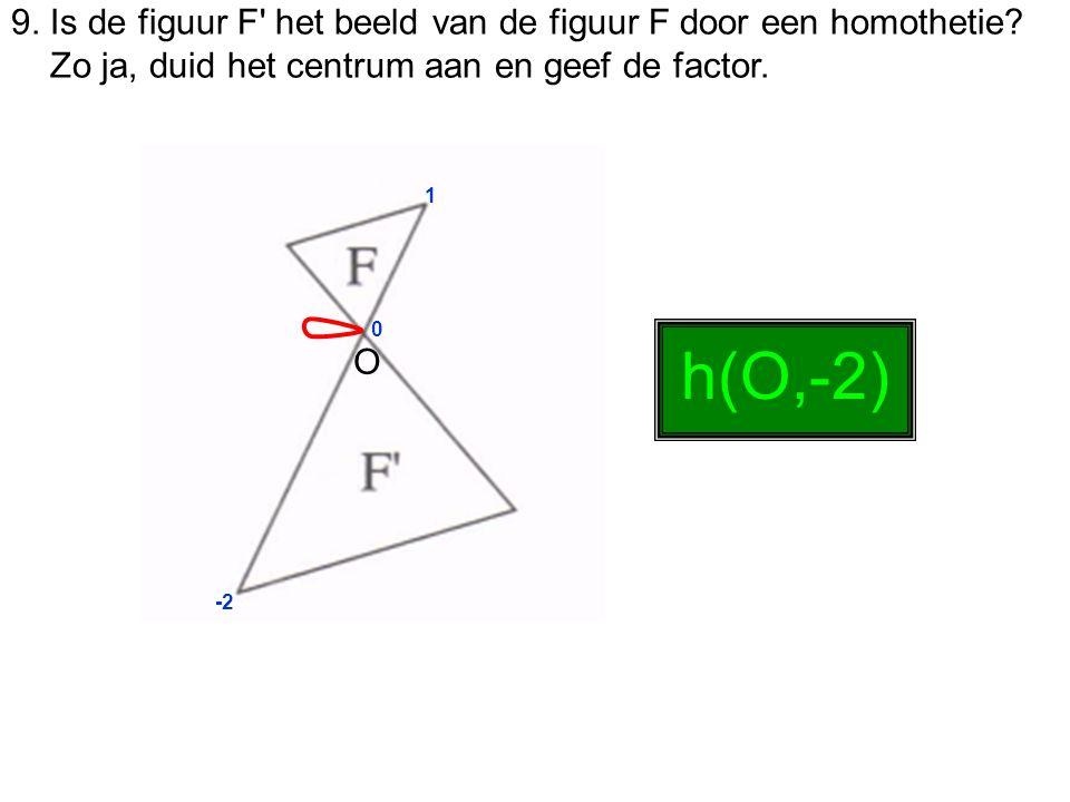 9. Is de figuur F' het beeld van de figuur F door een homothetie? Zo ja, duid het centrum aan en geef de factor. 0 1 -2 h(O,-2) O