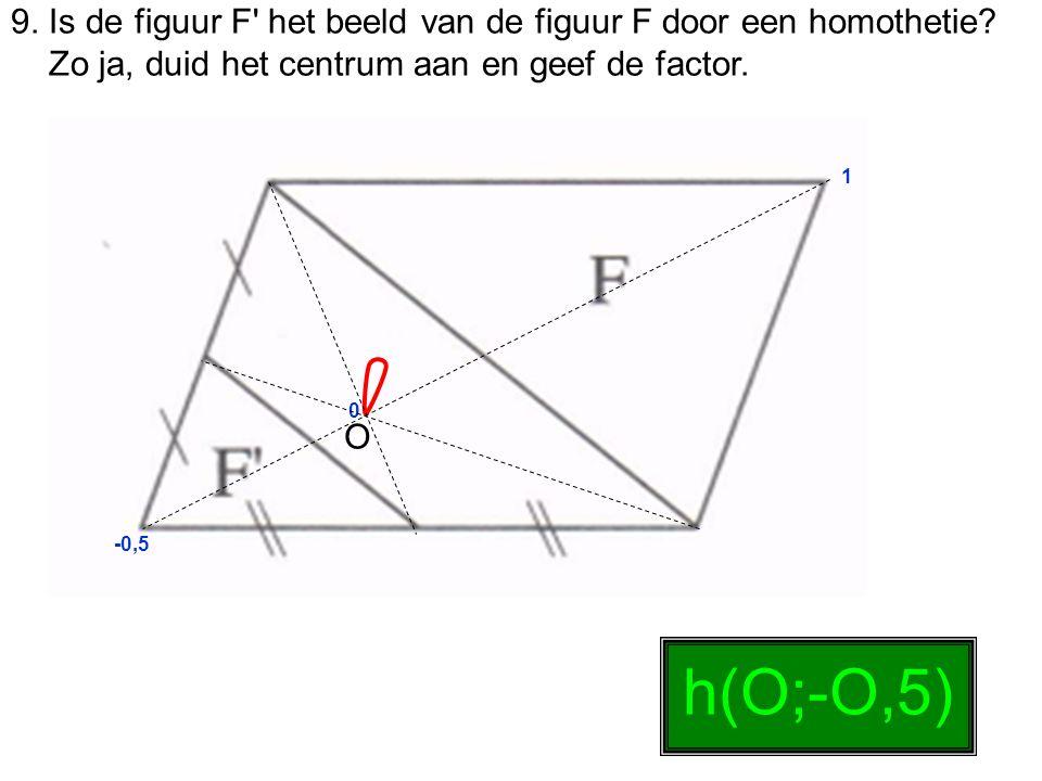 9. Is de figuur F' het beeld van de figuur F door een homothetie? Zo ja, duid het centrum aan en geef de factor. 0 1 -0,5 h(O;-O,5) O