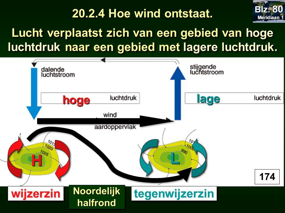 Lucht verplaatst zich van een gebied van hoge luchtdruk naar een gebied met lagere luchtdruk. hoge lage H L wijzerzinwijzerzintegenwijzerzintegenwijze