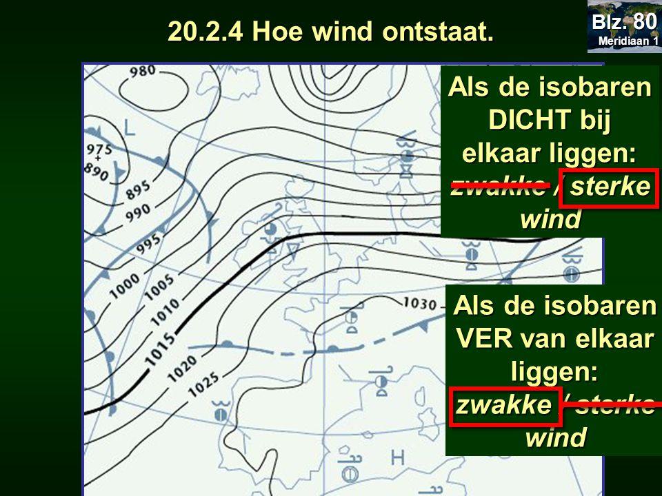 Als de isobaren DICHT bij elkaar liggen: zwakke / sterke wind Als de isobaren VER van elkaar liggen: zwakke / sterke wind 20.2.4 Hoe wind ontstaat.. M