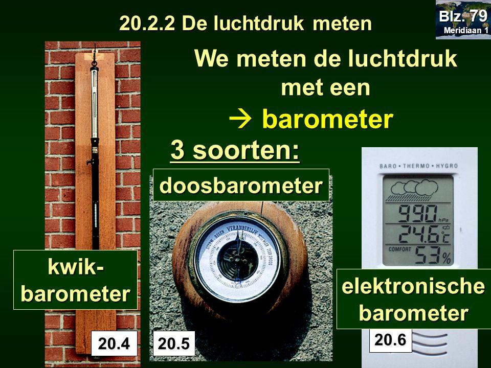 20.5 We meten de luchtdruk met een  barometer 3 soorten: kwik- barometer 20.4 doosbarometer 20.2.2 De luchtdruk meten. 20.6 elektronische barometer M