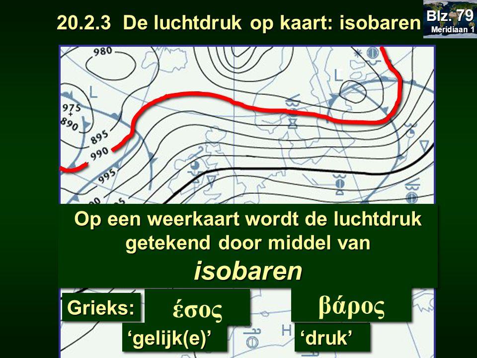 Op een weerkaart wordt de luchtdruk getekend door middel van isobaren έσος Grieks:Grieks: 'gelijk(e)''gelijk(e)''druk''druk' βάρος 20.2.3 De luchtdruk