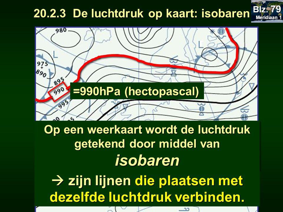 Op een weerkaart wordt de luchtdruk getekend door middel van isobaren  zijn lijnen die plaatsen met dezelfde luchtdruk verbinden. =990hPa (hectopasca