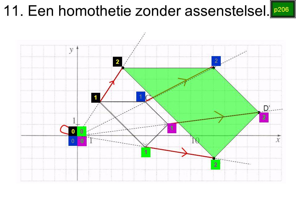 11. Een homothetie zonder assenstelsel. p206 A' B' C' D' 0 1 2 0 1 2 0 1 2 0 1 2