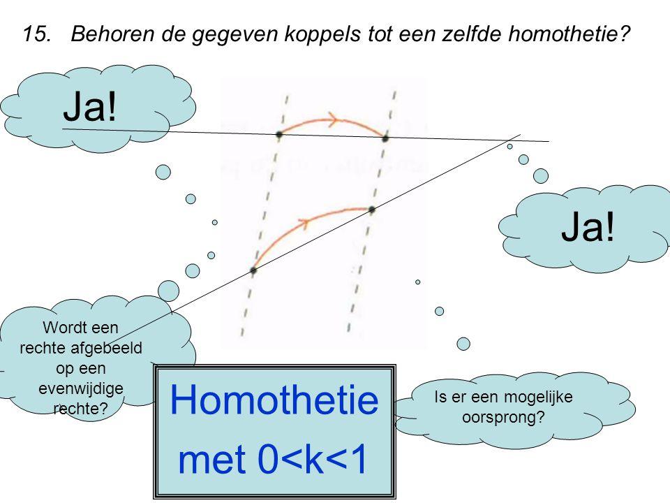 15. Behoren de gegeven koppels tot een zelfde homothetie? Wordt een rechte afgebeeld op een evenwijdige rechte? Ja! Is er een mogelijke oorsprong? Ja!
