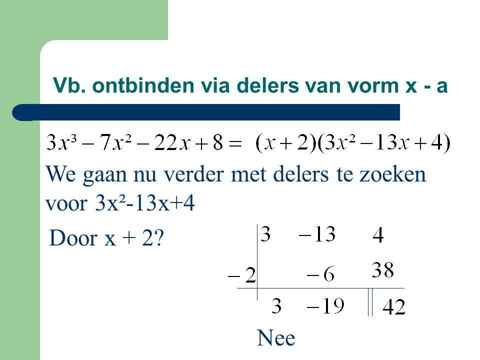 Vb. ontbinden via delers van vorm x - a We gaan nu verder met delers te zoeken voor 3x²-13x+4 Nee Door x + 2?