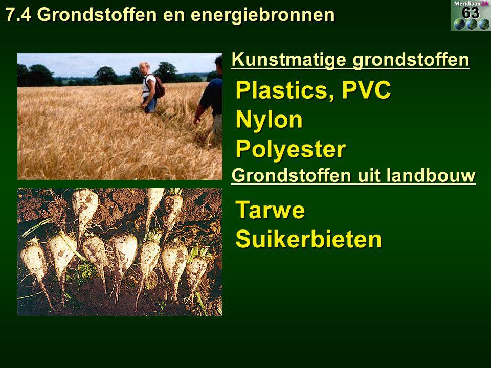 Plastics, PVC NylonPolyester TarweSuikerbieten Kunstmatige grondstoffen Grondstoffen uit landbouw 7.4 Grondstoffen en energiebronnen 63