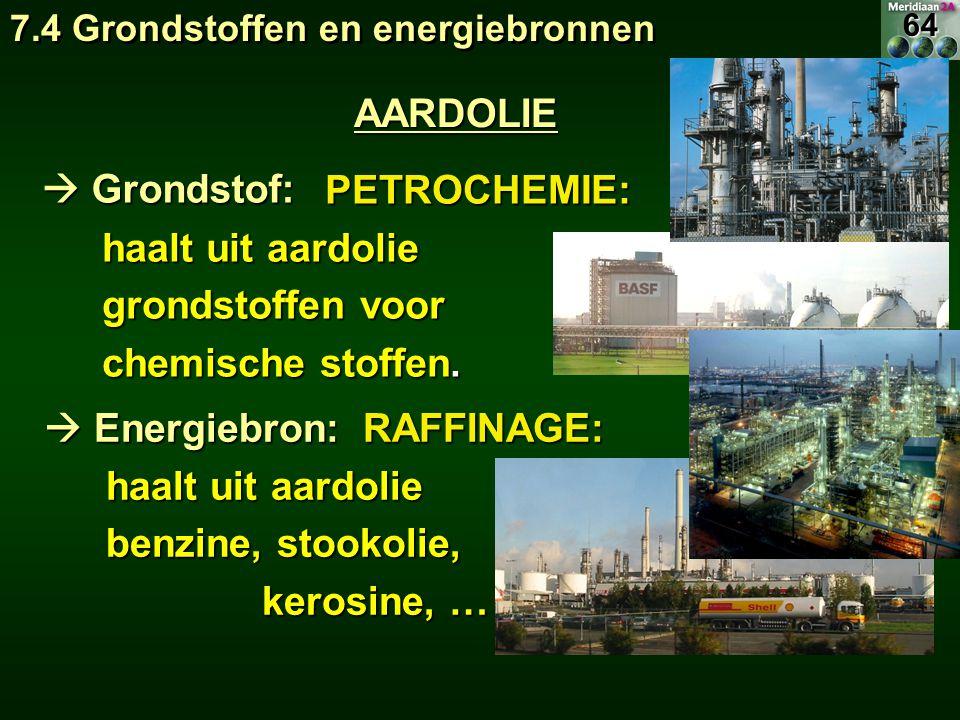 PETROCHEMIE: PETROCHEMIE: haalt uit aardolie grondstoffen voor chemische stoffen.  Energiebron: AARDOLIE  Grondstof: RAFFINAGE: RAFFINAGE: haalt uit