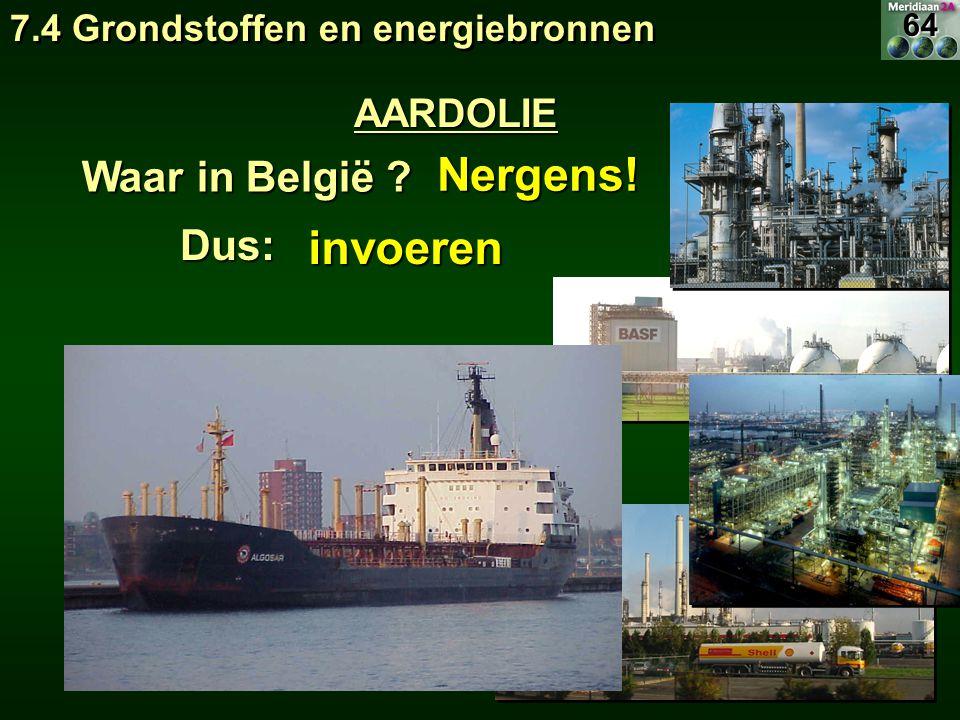 Nergens! Waar in België ? invoerenDus: 7.4 Grondstoffen en energiebronnen AARDOLIE64