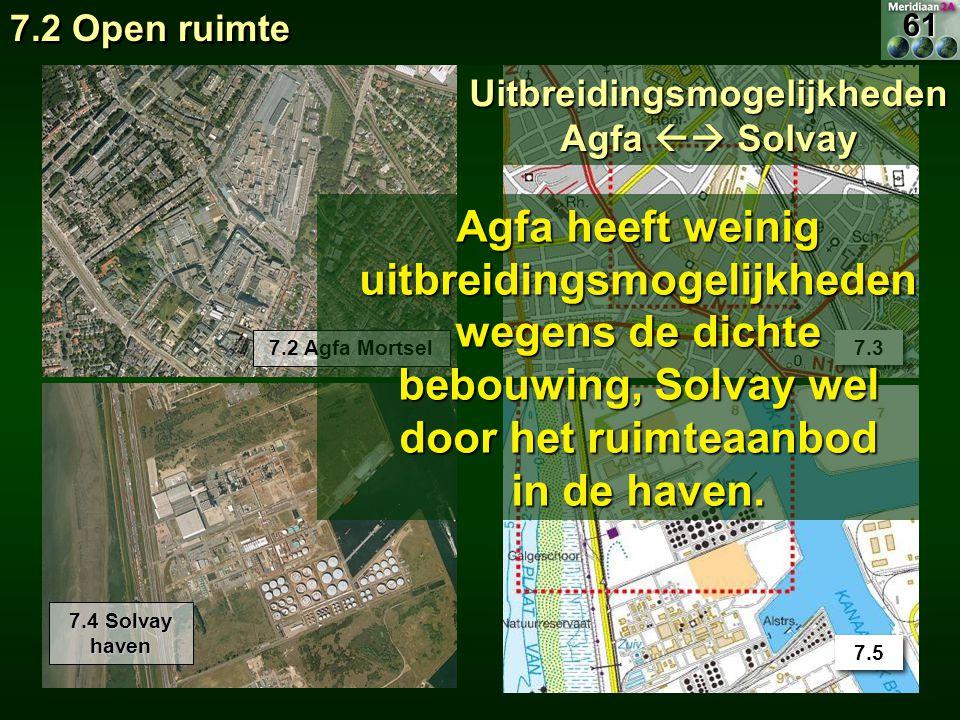 7.2 Agfa Mortsel 7.3 7.4 Solvay haven 7.5 Uitbreidingsmogelijkheden Agfa  Solvay Agfa heeft weinig uitbreidingsmogelijkheden wegens de dichte bebouw