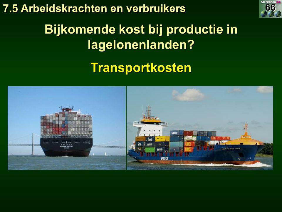7.5 Arbeidskrachten en verbruikers Bijkomende kost bij productie in lagelonenlanden? Transportkosten66