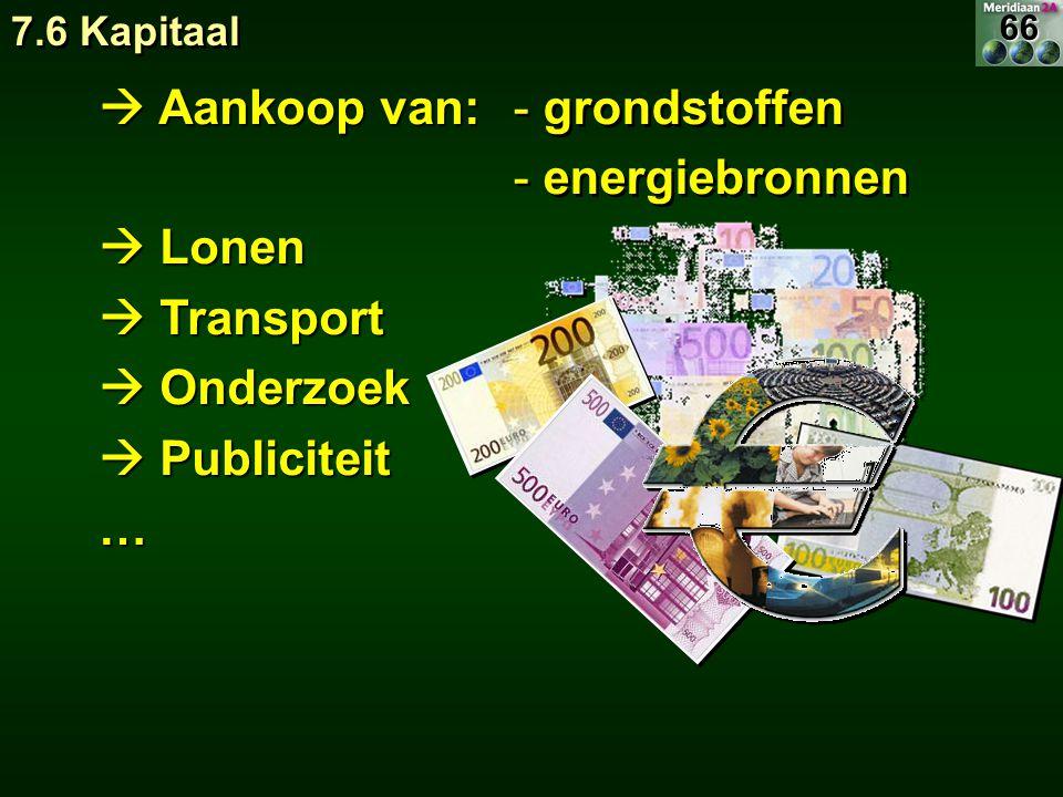  Aankoop van:  Lonen  Transport  Onderzoek  Publiciteit … - grondstoffen - energiebronnen - grondstoffen - energiebronnen 7.6 Kapitaal 66
