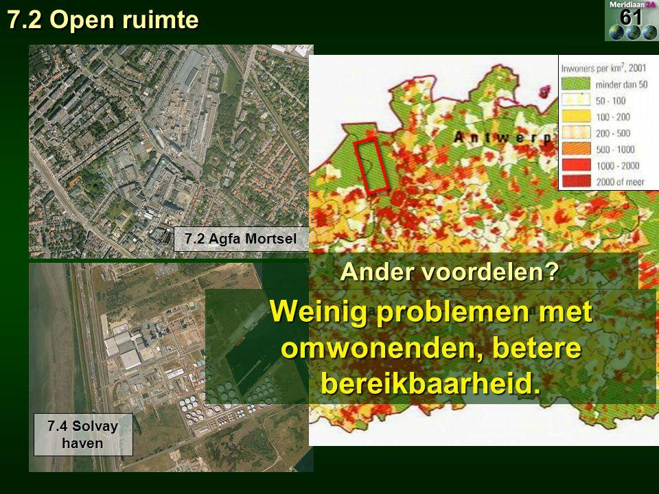 7.2 Agfa Mortsel 7.4 Solvay haven 7.2 Open ruimte Ander voordelen? Weinig problemen met omwonenden, betere bereikbaarheid. 61