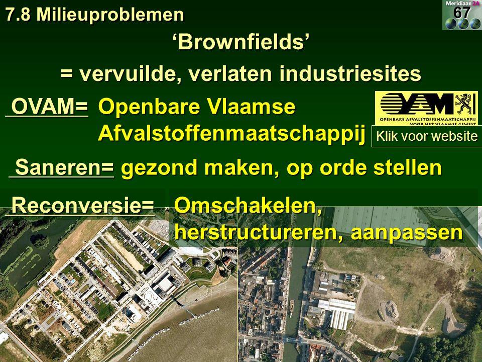 'Brownfields' = vervuilde, verlaten industriesites OVAM= OVAM= 7.8 Milieuproblemen Klik voor website Klik voor website Openbare Vlaamse Afvalstoffenma