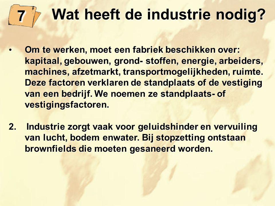 Wat heeft de industrie nodig? Wat heeft de industrie nodig? Om te werken, moet een fabriek beschikken over: kapitaal, gebouwen, grond- stoffen, energi