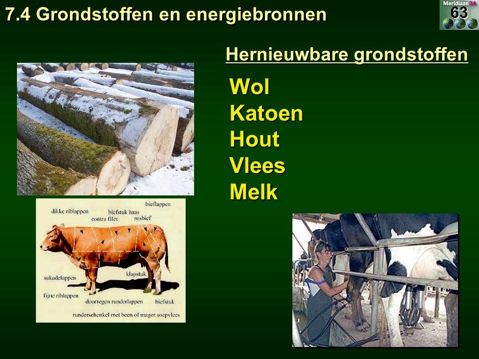 WolKatoenHoutVleesMelk Hernieuwbare grondstoffen 7.4 Grondstoffen en energiebronnen 63