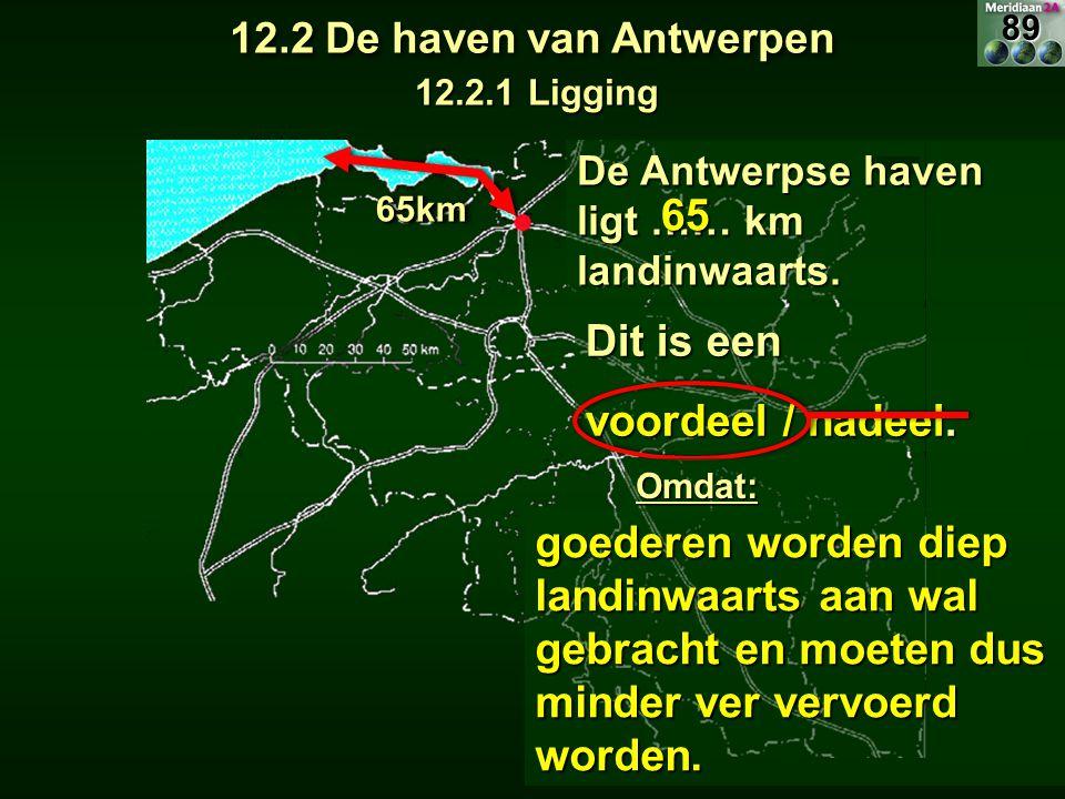 De Antwerpse haven ligt …… km landinwaarts. 6565km65km Dit is een voordeel / nadeel. goederen worden diep landinwaarts aan wal gebracht en moeten dus