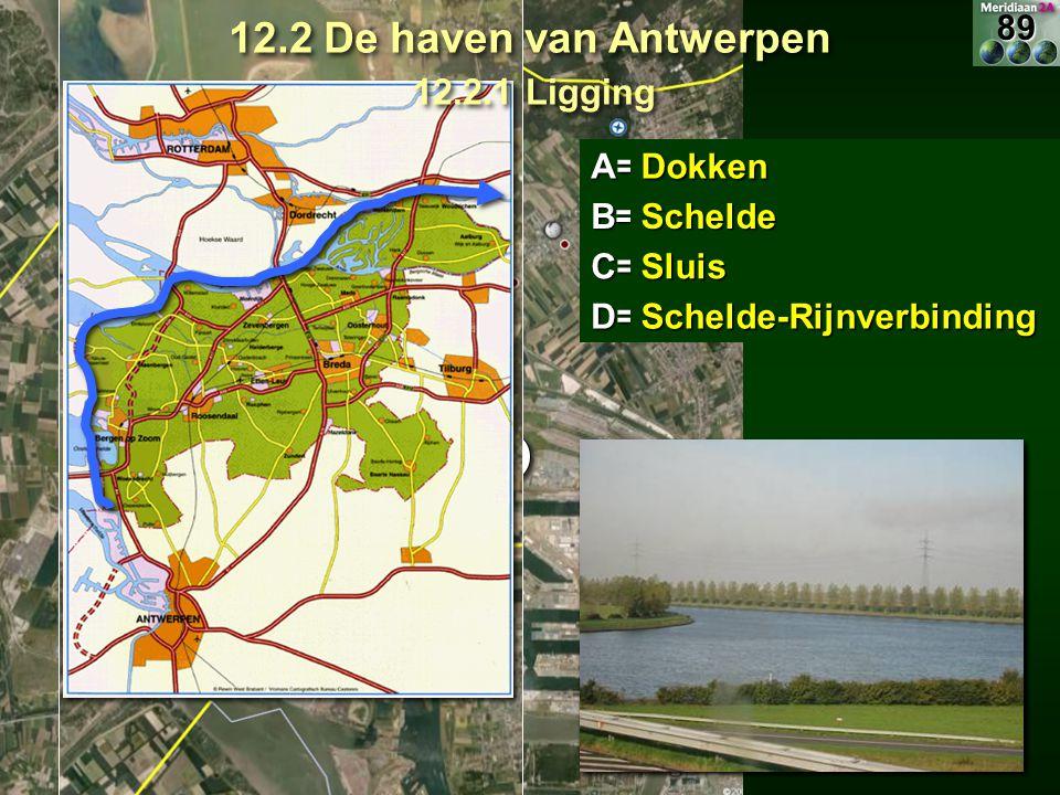 A=A B C E E F FB= C= D= Dokken Schelde Sluis Schelde-RijnverbindingDD 12.2 De haven van Antwerpen 12.2.1 Ligging 89