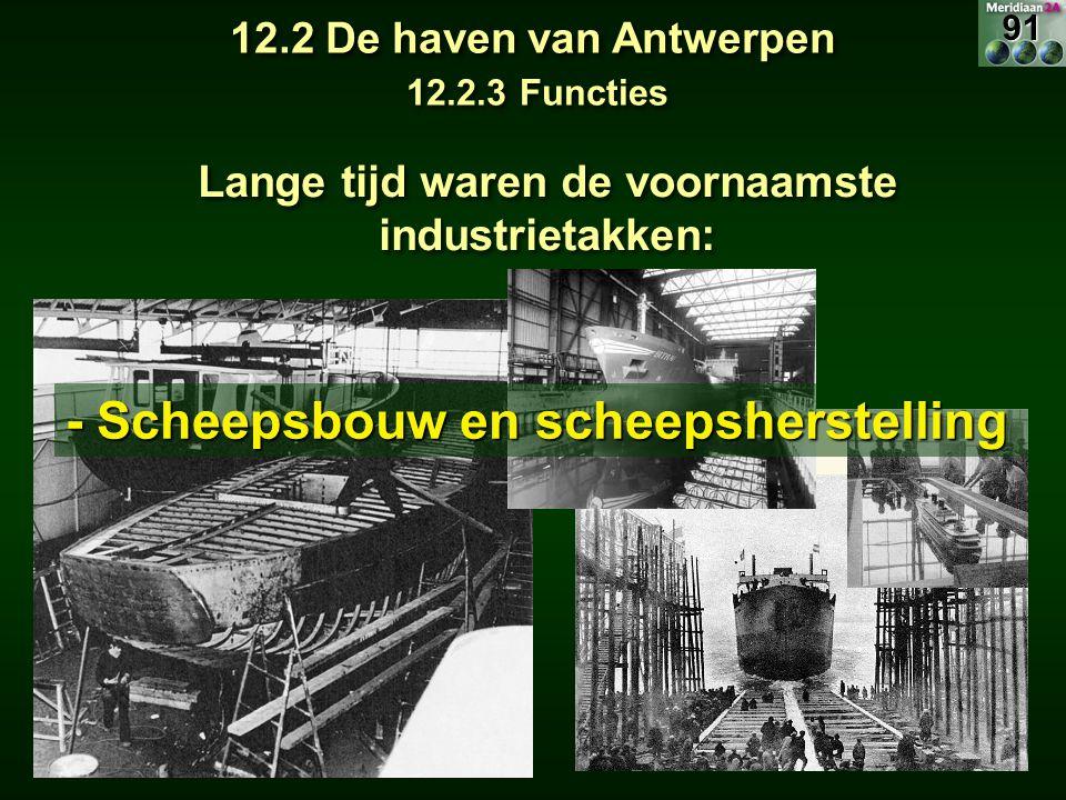 Lange tijd waren de voornaamste industrietakken: - Scheepsbouw en scheepsherstelling 12.2 De haven van Antwerpen 12.2.3 Functies 91