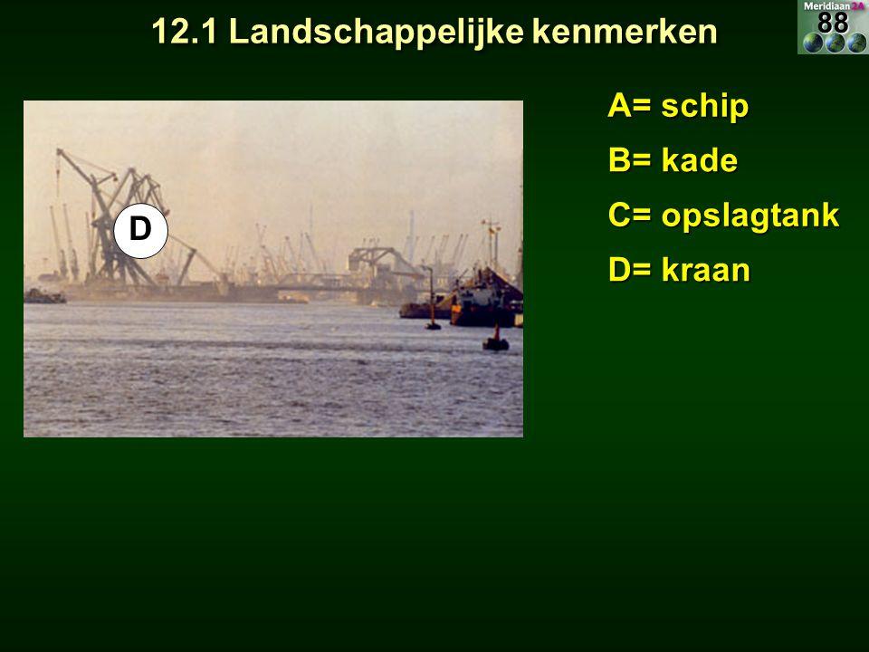 A= schip B= kade C= opslagtank D= kraan E= container E 12.1 Landschappelijke kenmerken 88