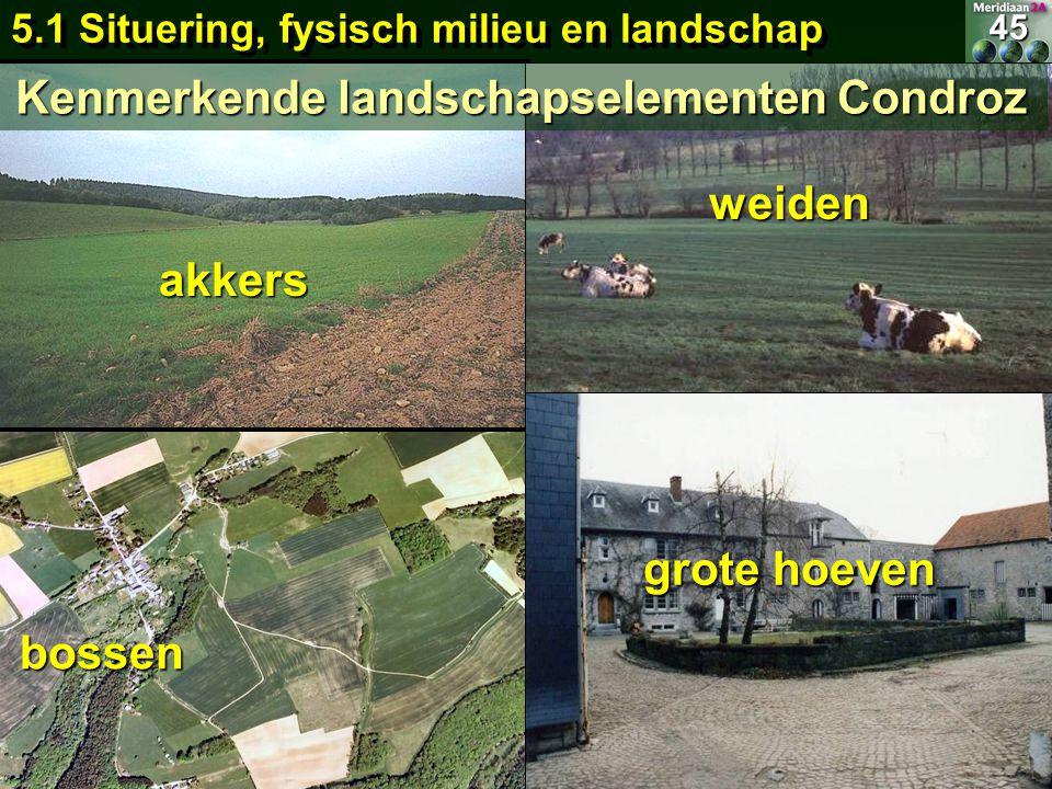 weiden bossen akkers 5.1 Situering, fysisch milieu en landschap 45 grote hoeven Kenmerkende landschapselementen Condroz