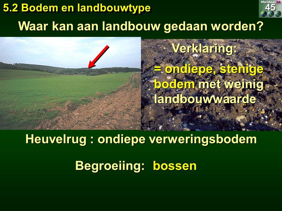 5.2 Bodem en landbouwtype Waar kan aan landbouw gedaan worden? bossen Heuvelrug : ondiepe verweringsbodem Begroeiing: = ondiepe, stenige bodem met wei