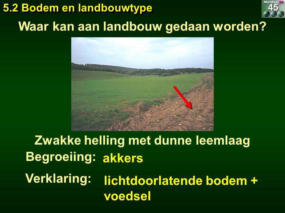 akkers Zwakke helling met dunne leemlaag Begroeiing: lichtdoorlatende bodem + voedsel Waar kan aan landbouw gedaan worden? 5.2 Bodem en landbouwtype 4