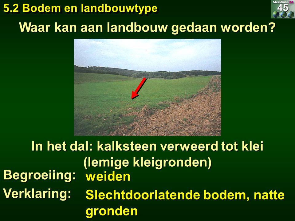 weiden In het dal: kalksteen verweerd tot klei (lemige kleigronden) Begroeiing: Slechtdoorlatende bodem, natte gronden Waar kan aan landbouw gedaan wo