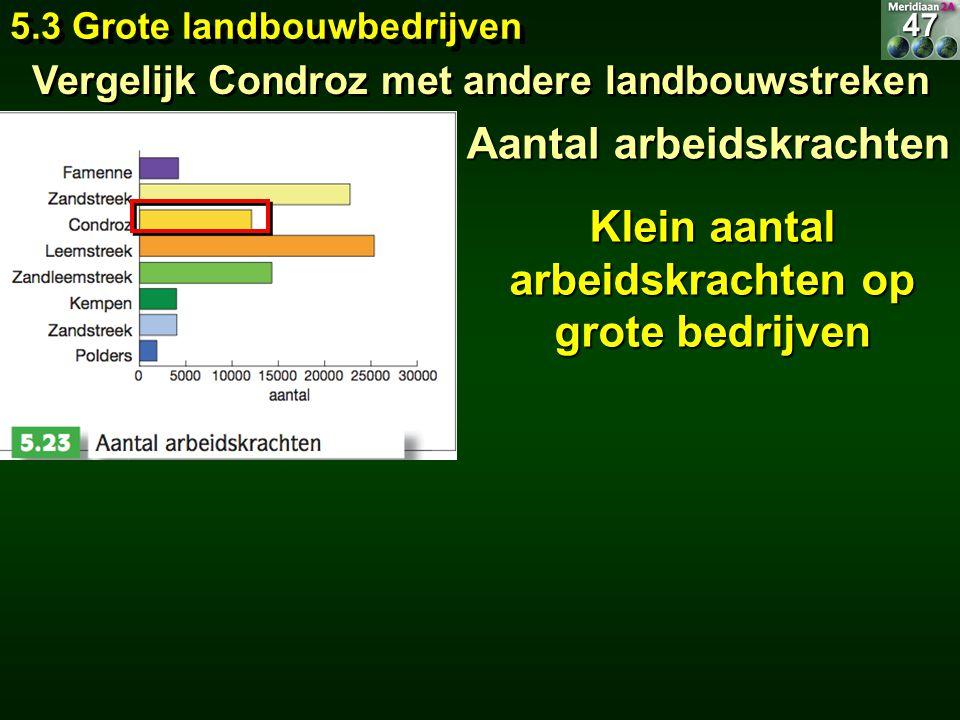 Aantal arbeidskrachten Klein aantal arbeidskrachten op grote bedrijven 5.3 Grote landbouwbedrijven 47 Vergelijk Condroz met andere landbouwstreken