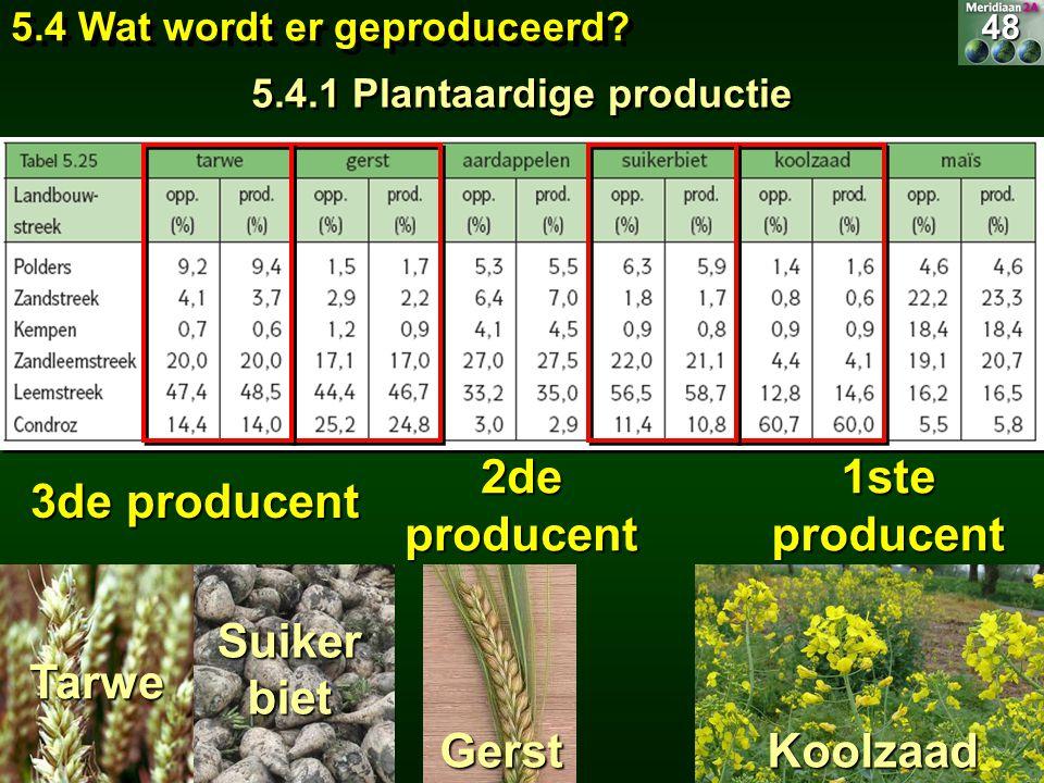 5.4 Wat wordt er geproduceerd? 5.4.1 Plantaardige productie 48 1ste producent Koolzaad 2de producent Gerst 3de producent Tarwe Suiker biet