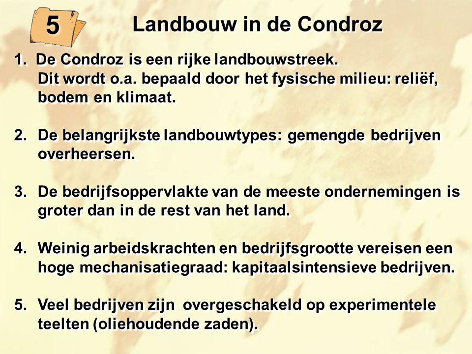 5 5 Landbouw in de Condroz 1. De Condroz is een rijke landbouwstreek. Dit wordt o.a. bepaald door het fysische milieu: reliëf, bodem en klimaat. 2.De