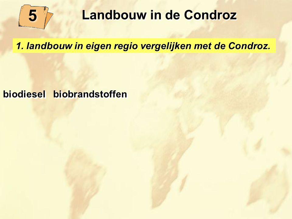 1. landbouw in eigen regio vergelijken met de Condroz. biodiesel biobrandstoffen 5 5 Landbouw in de Condroz