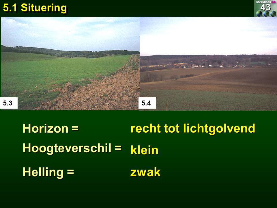 5.35.4 Horizon = recht tot lichtgolvend Hoogteverschil = klein Helling = zwak 5.1 Situering 43