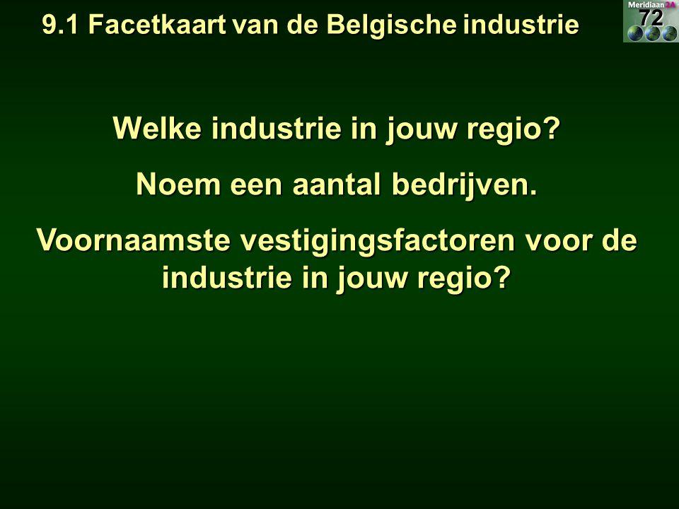 9.1 Facetkaart van de Belgische industrie 9.1 Facetkaart van de Belgische industrie Welke industrie in jouw regio? Noem een aantal bedrijven. Voornaam