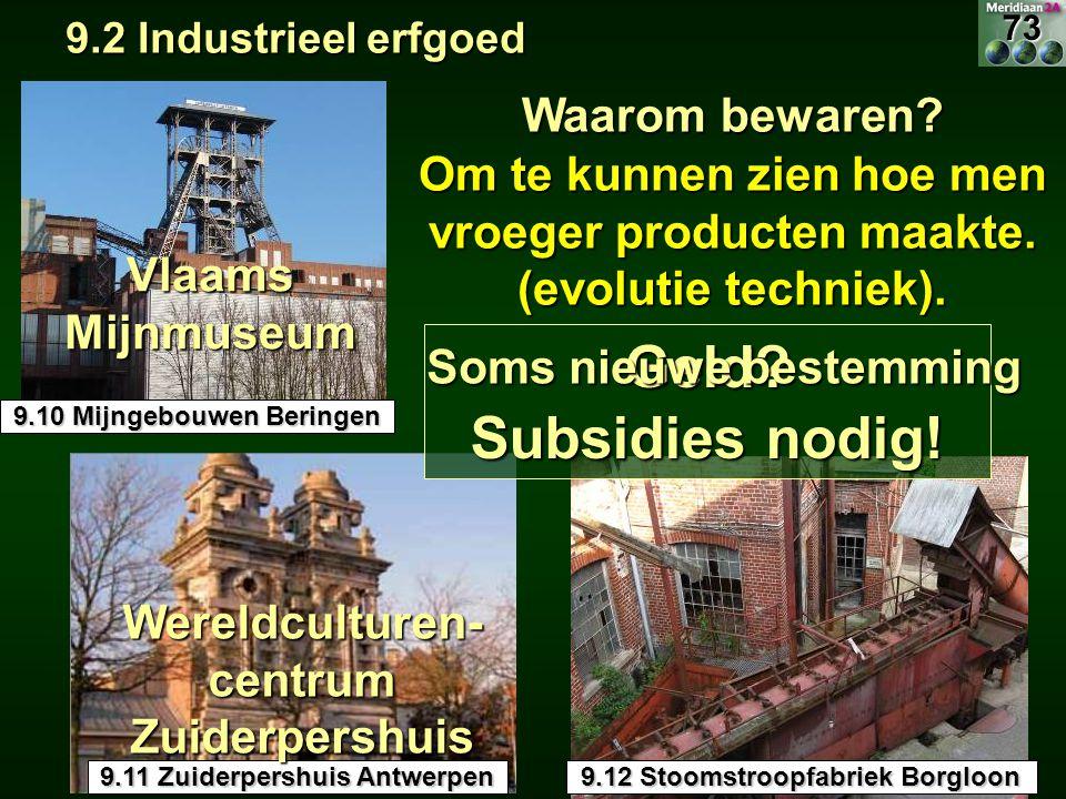9.2 Industrieel erfgoed 9.2 Industrieel erfgoed 9.12 Stoomstroopfabriek Borgloon 9.10 Mijngebouwen Beringen Waarom bewaren? Om te kunnen zien hoe men