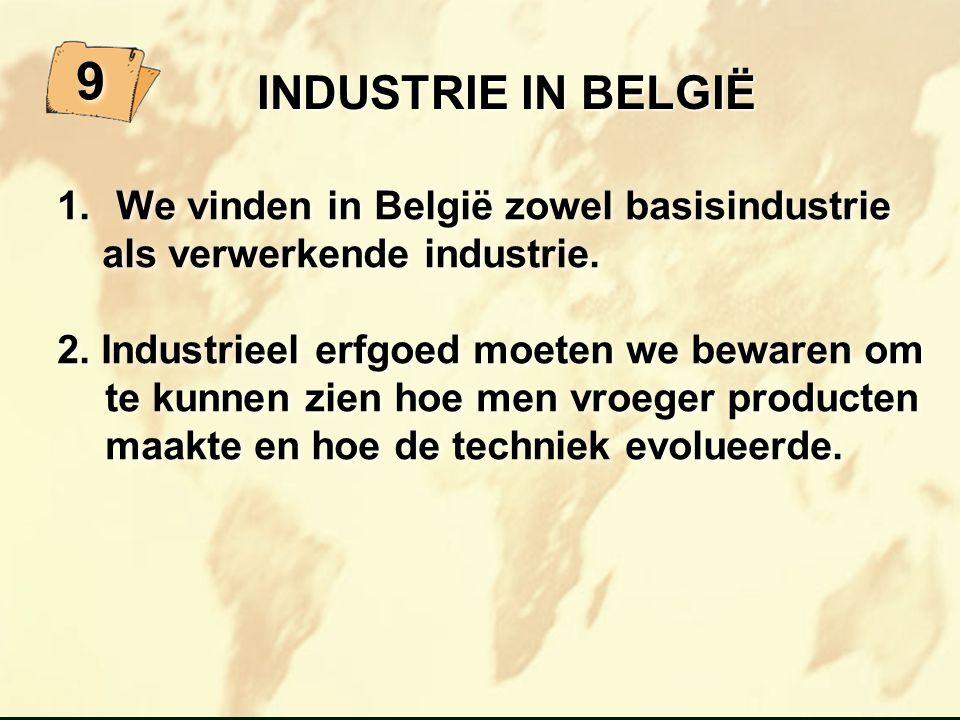 INDUSTRIE IN BELGIË INDUSTRIE IN BELGIË 1. We vinden in België zowel basisindustrie als verwerkende industrie. 2. Industrieel erfgoed moeten we beware