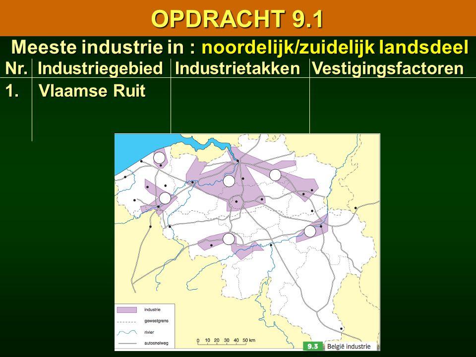 Nr. Industriegebied Industrietakken Vestigingsfactoren 9.1 Facetkaart van de Belgische industrie 9.1 Facetkaart van de Belgische industrie Meeste indu