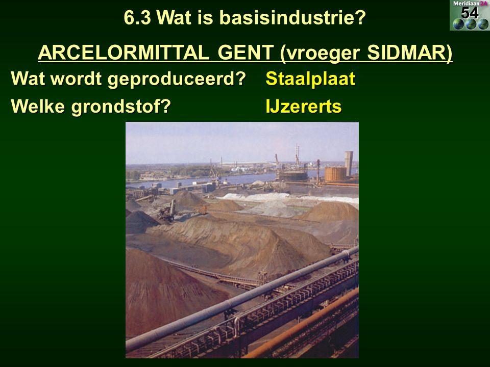 Wat wordt geproduceerd? Staalplaat 6.3 Wat is basisindustrie? ARCELORMITTAL GENT (vroeger SIDMAR) Welke grondstof? IJzererts54