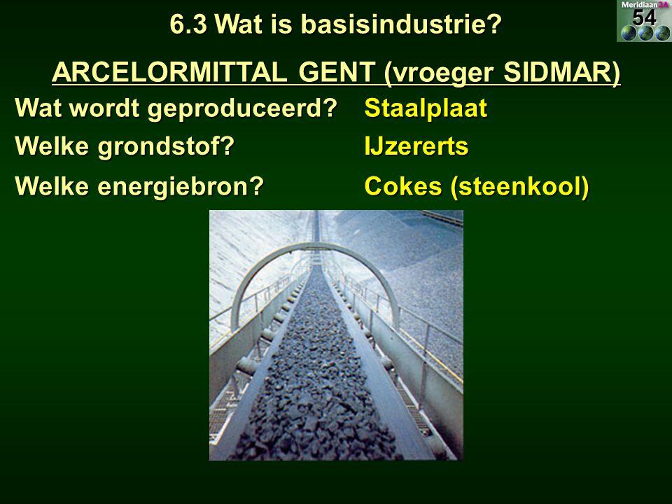Wat wordt geproduceerd? Staalplaat 6.3 Wat is basisindustrie? ARCELORMITTAL GENT (vroeger SIDMAR) Welke grondstof? IJzererts Welke energiebron? Cokes