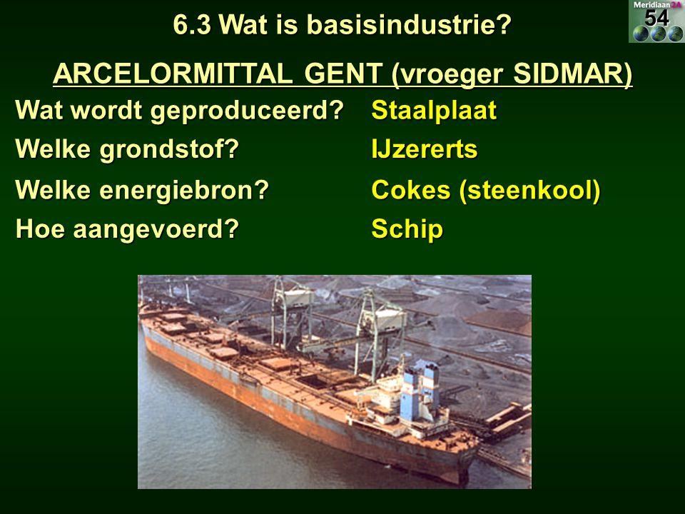 Wat wordt geproduceerd? Staalplaat 6.3 Wat is basisindustrie? ARCELORMITTAL GENT (vroeger SIDMAR) Welke grondstof? IJzererts Hoe aangevoerd? Schip Wel