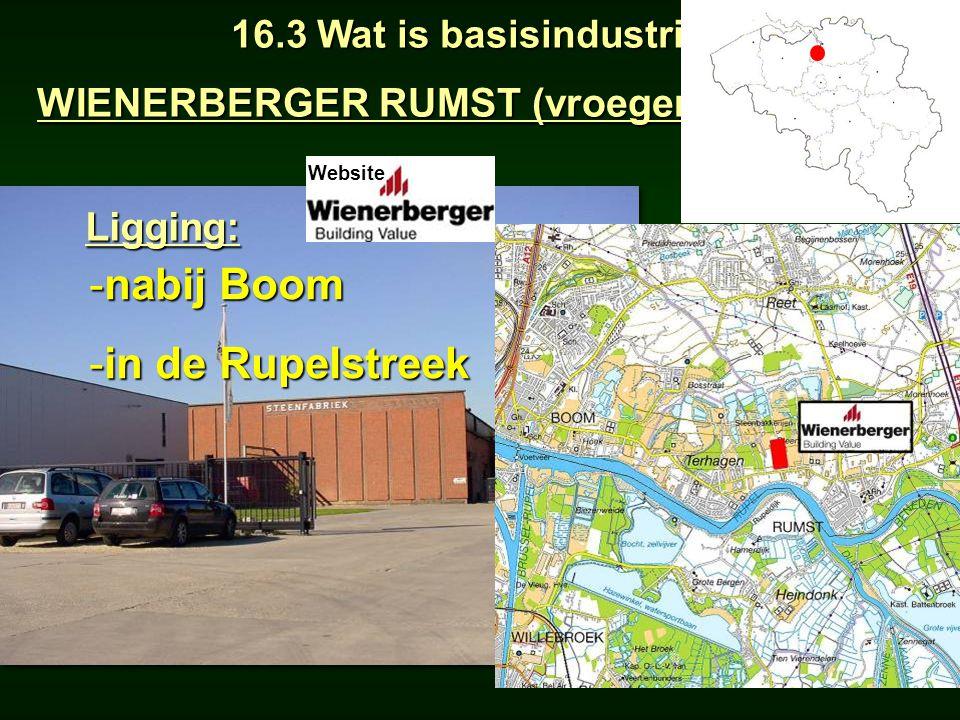 55Ligging: -nabij Boom -in de Rupelstreek 16.3 Wat is basisindustrie? WIENERBERGER RUMST (vroeger SWENDEN) Ligging: Website