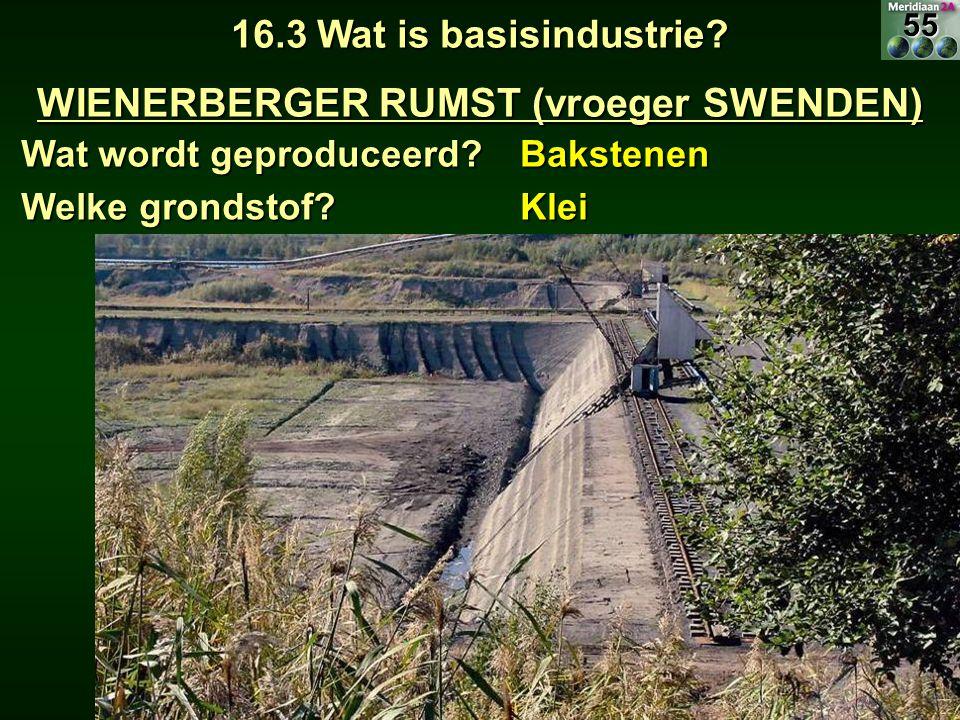 16.3 Wat is basisindustrie? WIENERBERGER RUMST (vroeger SWENDEN) Wat wordt geproduceerd? Bakstenen Welke grondstof? Klei55