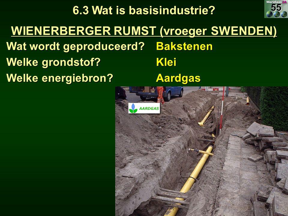 6.3 Wat is basisindustrie? WIENERBERGER RUMST (vroeger SWENDEN) Wat wordt geproduceerd? Bakstenen Welke grondstof? Klei Welke energiebron? Aardgas55