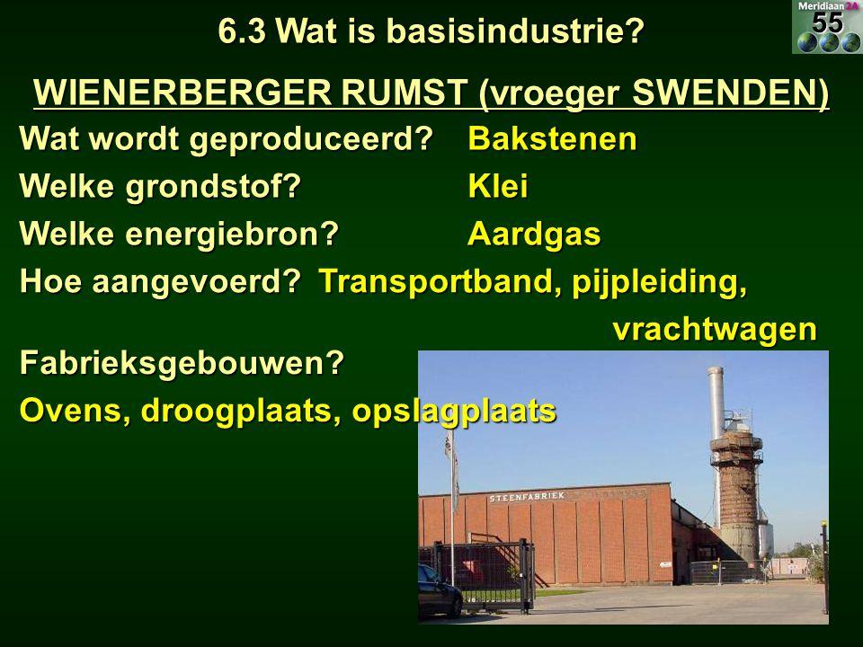 6.3 Wat is basisindustrie? WIENERBERGER RUMST (vroeger SWENDEN) Wat wordt geproduceerd? Bakstenen Welke grondstof? Klei Welke energiebron? Aardgas Hoe