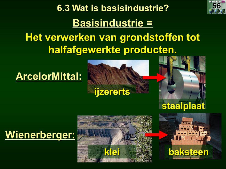 Basisindustrie = Het verwerken van grondstoffen tot halfafgewerkte producten. 6.3 Wat is basisindustrie? ArcelorMittal: Wienerberger: ijzererts staalp