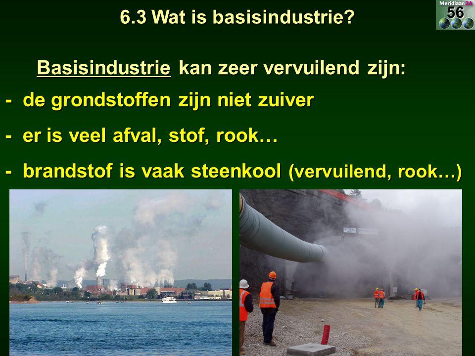 Meridiaan 2A Basisindustrie kan zeer vervuilend zijn: - de grondstoffen zijn niet zuiver - er is veel afval, stof, rook… - brandstof is vaak steenkool