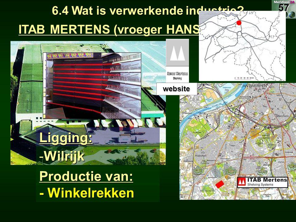 ITAB MERTENS (vroeger HANSA MERTENS) 6.4 Wat is verwerkende industrie? Ligging: -Wilrijk Productie van: - Winkelrekken website 57