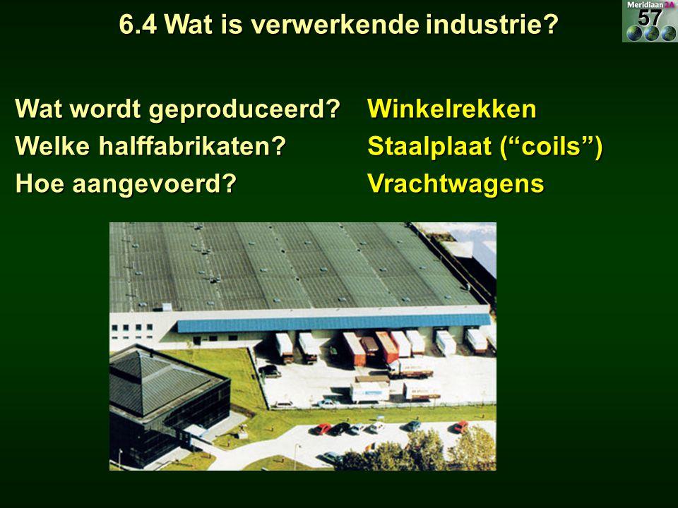 """6.4 Wat is verwerkende industrie? Wat wordt geproduceerd? Winkelrekken Welke halffabrikaten? Staalplaat (""""coils"""") Hoe aangevoerd? Vrachtwagens57"""