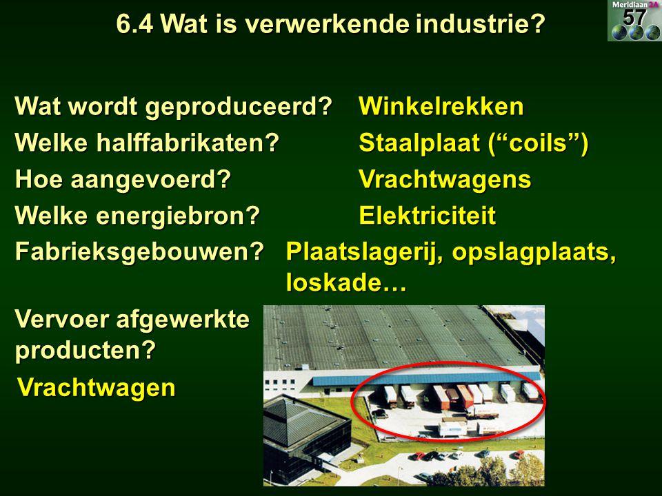"""6.4 Wat is verwerkende industrie? Wat wordt geproduceerd? Winkelrekken Welke halffabrikaten? Staalplaat (""""coils"""") Hoe aangevoerd? Vrachtwagens Welke e"""