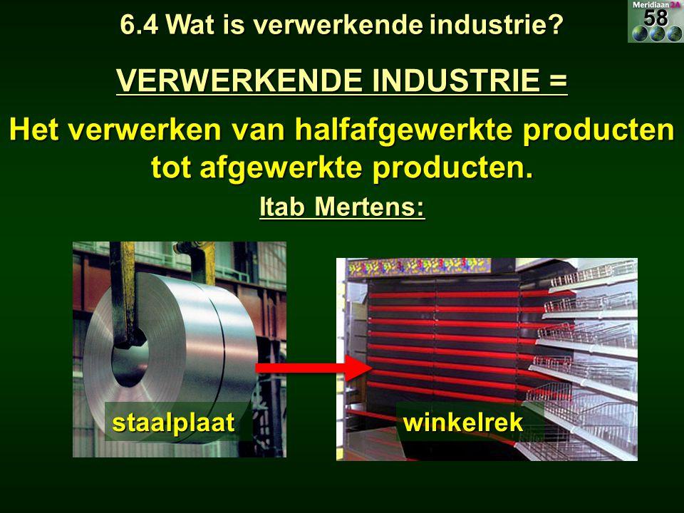 VERWERKENDE INDUSTRIE = Het verwerken van halfafgewerkte producten tot afgewerkte producten. 6.4 Wat is verwerkende industrie? Itab Mertens: staalplaa